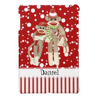 Cute Sock Monkeys, Monkey Friends Whimsical Fun iPad Mini Covers