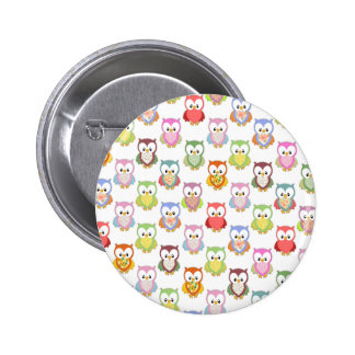 Cute soft colourful owls different chest patterns 6 cm round badge