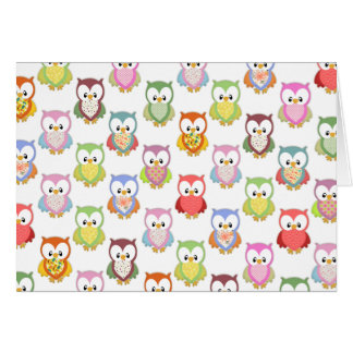 Cute soft colourful owls different chest patterns card