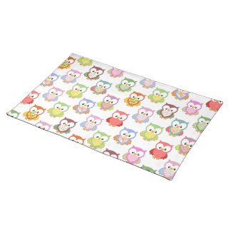 Cute soft colourful owls different chest patterns place mats