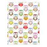 Cute soft colourful owls different chest patterns post cards