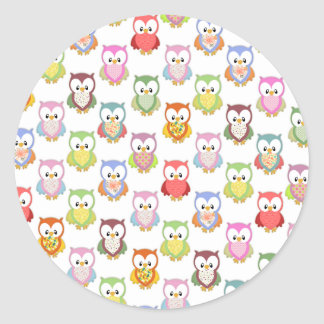 Cute soft colourful owls different chest patterns round sticker