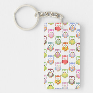 Cute soft colourful owls different chest patterns Single-Sided rectangular acrylic key ring