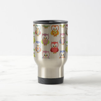Cute soft colourful owls different chest patterns stainless steel travel mug