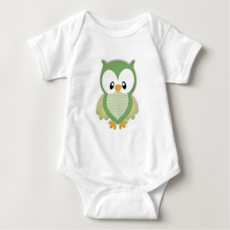 Cute soft gree cream and yellow owl baby bodysuit
