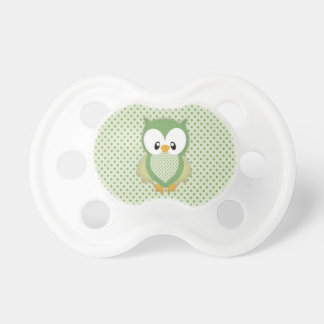 Cute soft gree cream and yellow owl baby pacifiers