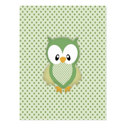 Cute soft gree cream and yellow owl postcard