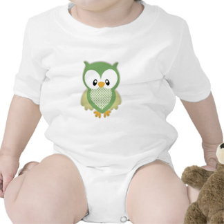 Cute soft gree cream and yellow owl tshirt