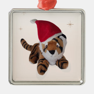 Cute Soft Toy Tiger In Santa Hat Decoration Silver-Colored Square Decoration