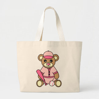 Cute Softball Girl Bear - Pink Large Tote Bag