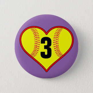 Cute Softball Heart Customizable Softball Pin