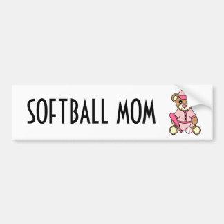 Cute Softball Mom -  Girl Teddy Bear Pink Bumper Sticker