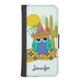 Cute Sombrero owl with parrot & custom Name iPhone SE/5/5s Wallet Case