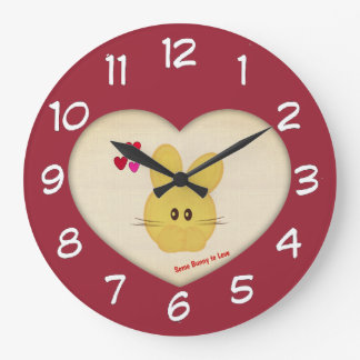 Cute Some Bunny to Love Heart Motif Large Clock