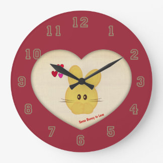 Cute Some Bunny to Love Heart Motif Red Large Clock