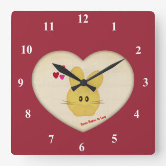 Cute Some Bunny to Love Heart Motif Square Wall Clock