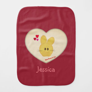 Cute Some Bunny to Love Heart Personalized Burp Cloth