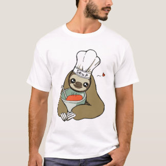 Cute Soup Chef Sloth Drawing Men's T-Shirt