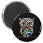 Cute South African Flag Owl Wearing Glasses Magnet