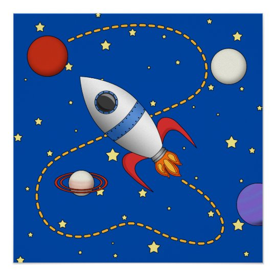 Cute Space Rocket Ship in Orbit  Cartoon Poster