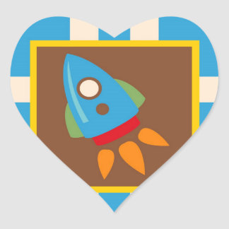 Cute Space Ship Rocket Outer Space Blue Kids Heart Sticker