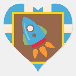 Cute Space Ship Rocket Outer Space Blue Kids Heart Sticker