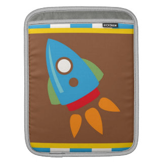 Cute Space Ship Rocket Outer Space Blue Kids Sleeve For iPads