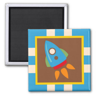 Cute Space Ship Rocket Outer Space Blue Kids Square Magnet