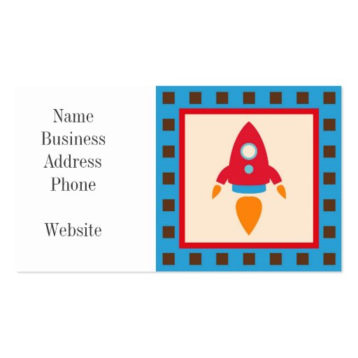 Cute Space Ship Rocket Outer Space Red Blue Business Card