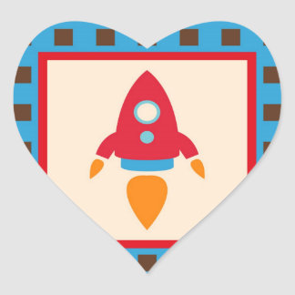 Cute Space Ship Rocket Outer Space Red Blue Heart Sticker
