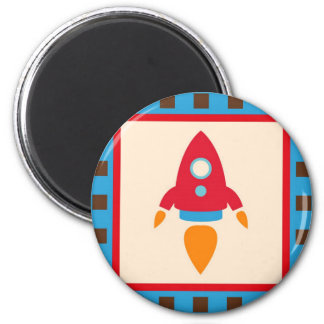 Cute Space Ship Rocket Outer Space Red Blue Magnet