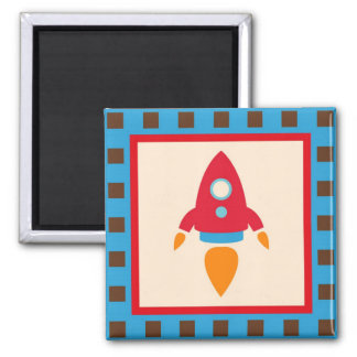 Cute Space Ship Rocket Outer Space Red Blue Square Magnet