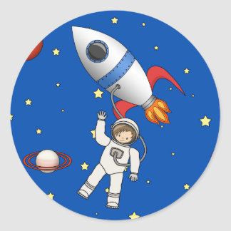 Cute Space Walk Astronaut and Rocketship Classic Round Sticker