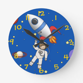 Cute Space Walk Astronaut and Rocketship Clocks