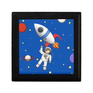 Cute Space Walk Astronaut and Rocketship Small Square Gift Box