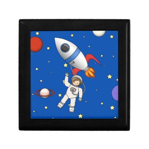 Cute Space Walk Astronaut and Rocketship Jewelry Boxes