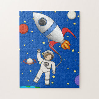 Cute Space Walk Astronaut and Rocketship Jigsaw Puzzle