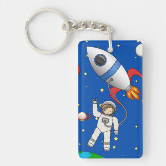 Cute Space Walk Astronaut and Rocketship Key Ring