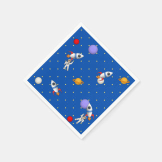 Cute Space Walk Astronaut and Rocketship Paper Napkins
