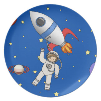 Cute Space Walk Astronaut and Rocketship Plate