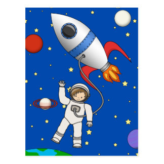Cute Space Walk Astronaut and Rocketship Postcard