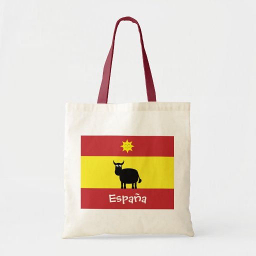 Cute Spanish Bull, Flag & Smiling Sun Canvas Bag