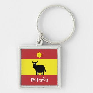 Cute Spanish Bull, Sun & Flag Key Ring