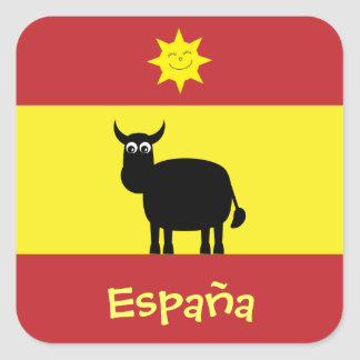 Cute Spanish Bull, Sun & Flag Square Sticker