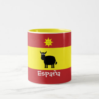 Cute Spanish Bull, Sun & Flag Two-Tone Coffee Mug