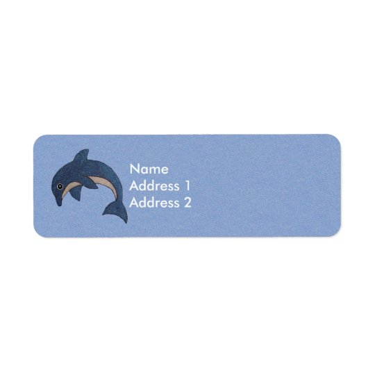 Cute Sparkling Look Cartoon Blue white Dolphin Return Address Label