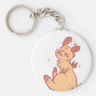 Cute Sparkling Rabbit (closeup) Basic Round Button Key Ring