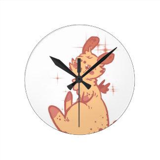 Cute Sparkling Rabbit (closeup) Round Clocks