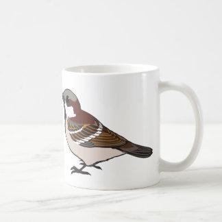 Cute sparrow basic white mug