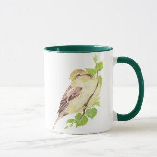 Cute Sparrow Bird & Watercolor Nature  Mug